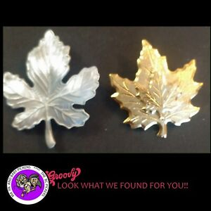 Roccocco Maple Leaf Canada Jewelry 'Gold Silver Pair' Pewter Brooch Pin