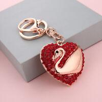 Swan Crystal Diamante Rhinestone Bag Charms Handbag Keyrings Pendant Key Chain