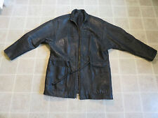 Vtg ARROW Trench Leather JACKET Mens MED Black THICK Heavy Coat 80s/90s USA Made