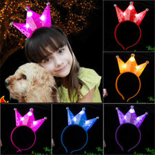Girls Frozen Tiara Pink Crown Light-Up LED Blinking Flash Headbands Party Gifts