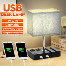 Modern Fabric Bedside Table Lamp Bedroom Desk Light W/ 2 USB Port Multifunctio