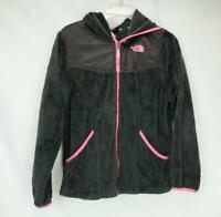 The North Face Fleece Zip Up Hooded Jacket Gray/Pink Youth Girl's XL (18)