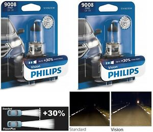 Philips VIsion 30% 9008 H13 60/55W Two Bulbs Head Light Dual Beam Replacement