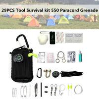 29 in 1 Tool Survival kit Paracord Grenade Outdoor Fishing Camping Hanging Bag