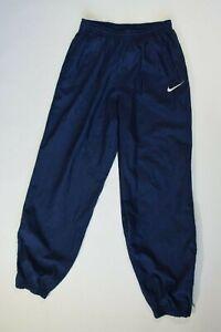 VTG Nike Navy Blue Nylon Drawstring Jogger Pants Youth Size L (14-16)