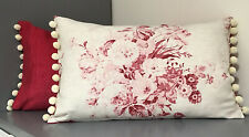 DESIGNER  CABBAGES & ROSES  Constance / Shabby Chic New Pom Pom Cushion Cover