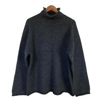 J. Crew Mens Roll Neck Wool Pullover Sweater Charcoal Gray Long Sleeves XL