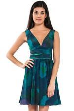Halston Heritage V Neck Short Dress Sash Midnight Watercolor green blue short