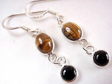 Tiger Eye Black Onyx Two Stone 925 Sterling Silver Dangle Earrings round oval