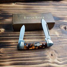 ROUGH RIDER 440 Stainless Imitation Tortoise Shell Mini Canoe Pocket Knife RR506
