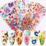 10Pcs Colorful Flowers Nail Foils Decals Nail Art Transfer Stickers Decor DIY