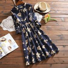Vintage Mori Girl Sweet Lolita Corduroy Woman Silm Princess Dress Long Sleeve