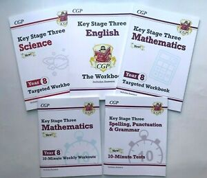 KS3 Year 8 Science Maths & English Pack of 5 Workbooks Kids Age 12- 13 years New