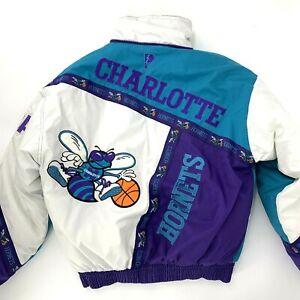 Vintage Charlotte Hornets Pro Player Jacket Medium RARE Embroidered Zip Pockets