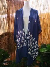 Loose Fitting Embroidered Blue & White Kimono Jacket OSFA 12-14-16-18-20