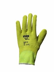 Uvex Unidur Cut-5 Resistant Hi-Visibility Gripper Work Gloves. Fully Coated Fing