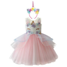 Flower Girls Unicorn Dress Hair Hoop Set for Kids Princess Wedding Party Costume