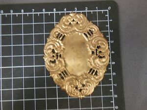 Oval Pierced Cartouche xx-large brass stamping jewelry finding (osb290)