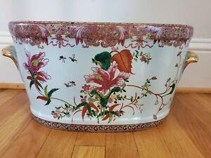 Vintage Chinese Famille Verte Style Celedon Floral Footbath Handled Planter Gilt