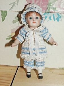"""Antique Doll Sailor Dress, Collar, Pants & Hat for 5"""" All Bisque Miniature Doll"""