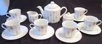 Algar Coffee Tea Set for 6 - Pink & Grey Flowers - 17 pcs - Japan -New Old Stock