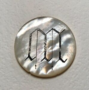 Etched & Dyed Black MONOGRAM M  on Antique Creamy White Pearl Shell Button