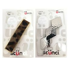 Scunci U Got This Hammered Metal Silver Colored Faux Fur Hair Clip - 2 Piece Lot