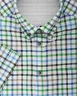 Ex Store Check Oxford Weave Short Sleeve Shirt Blue & Green Small