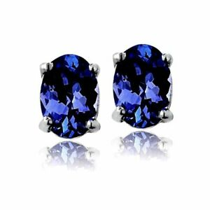 2 ct. Oval Sapphire Stud Earrings in Sterling Silver ~ SEPTEMBER Birthstone