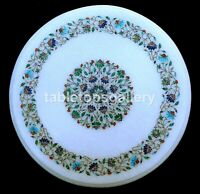 "16"" Semi Precious Floral Inlay Art Marble Coffee Table Top Occasional Decor W290"