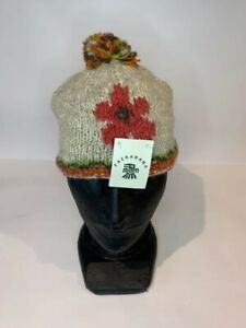 Pachamama Handmade woollen beige bobble hat, pink flower, fleece lined - BNWT