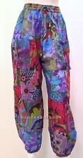 Talla Extra Hippy Boho Retro Floral Patchwork Harén Pantalón Azul Mezcla 18 20