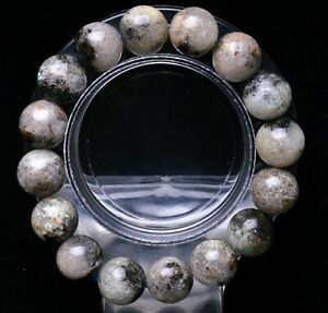 12.5mm Natural White Rutilated Quartz Crystal Round Beads Bracelet AAAA