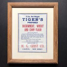 Harry H G Geist Gristmill Califon NJ Tiger's Buckwheat Flour Bag Framed Vtg