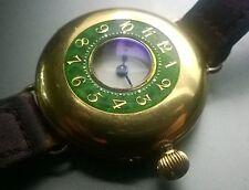 IWC (S&Co) 18K Hallmarked SOLID GOLD & GREEN ENAMEL HALF HUNTER conv. Wristwatch