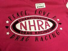 NHRA Peace Love & Drag RACING Ladies FUSCHIA/GREY V-Neck Graphic Shirt SMALL $34