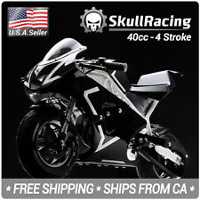 SkullRacing Gas Powered Mini Pocket Bike Motorcycle 40RR (White)