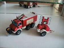 Siku Mercedes Unimog with trailer Fire Brigade in Red