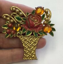 Vintage Costume Glass Cab Stone & Enameled Flower Pot Pin RC310