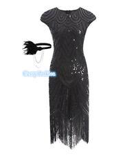 Deluxe Ladies 1920s Roaring 20s Flapper Gatsby Costume Sequins 6-16 Black