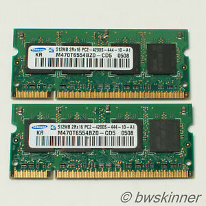 2x 512MB 2Rx16 PC2-4200S-444 Samsung RAM Modules. M470T6554BZ0. 1GB.