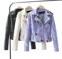 Women Embroidered Print Jacket Flower Embroidery PU Leather Slim Winter Biker