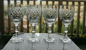 "4 Georgian Hock Wine Glasses by Webb Corbett/Royal Doulton - Height 6.5"""