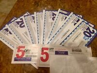 Lot of 10 BED BATH BEYOND COUPONS (20% OFF 1 ITEM + $5 OFF $15)