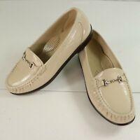 SAS Metro Womens Shoes Bone Patent Leather Horsebit Loafer Moccasin Size 8W