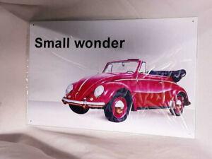 "VW Volkswagen Tag RED CONVERTABLE TYPE 1 Vintage VTG STEEL SIGN 16"" X 10 1/4"""