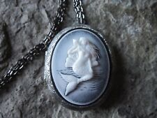 MERMAID CAMEO ANTIQUED SILVER PLATED LOCKET - TROPICAL - VACATION