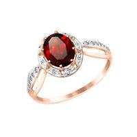 Damenring Ring mit Granat und Zirkonia, Rotgold 585, Gold 585