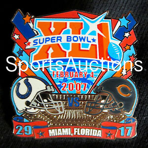 SUPER BOWL 41 Final Score LAPEL PIN & CARD Willabee & Ward COLTS vs BEARS SB XLI