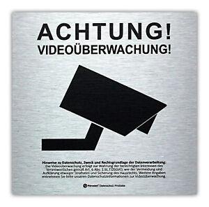 DSGVO+BDSG Datenschutz-Schild Info-Aushang Hinweis Videoüberwachung ALU 15x15cm